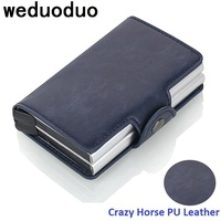 2018 New Men Business Credit Card Holder Crazy Horse PU Leather Card Holder Metal RFID Double