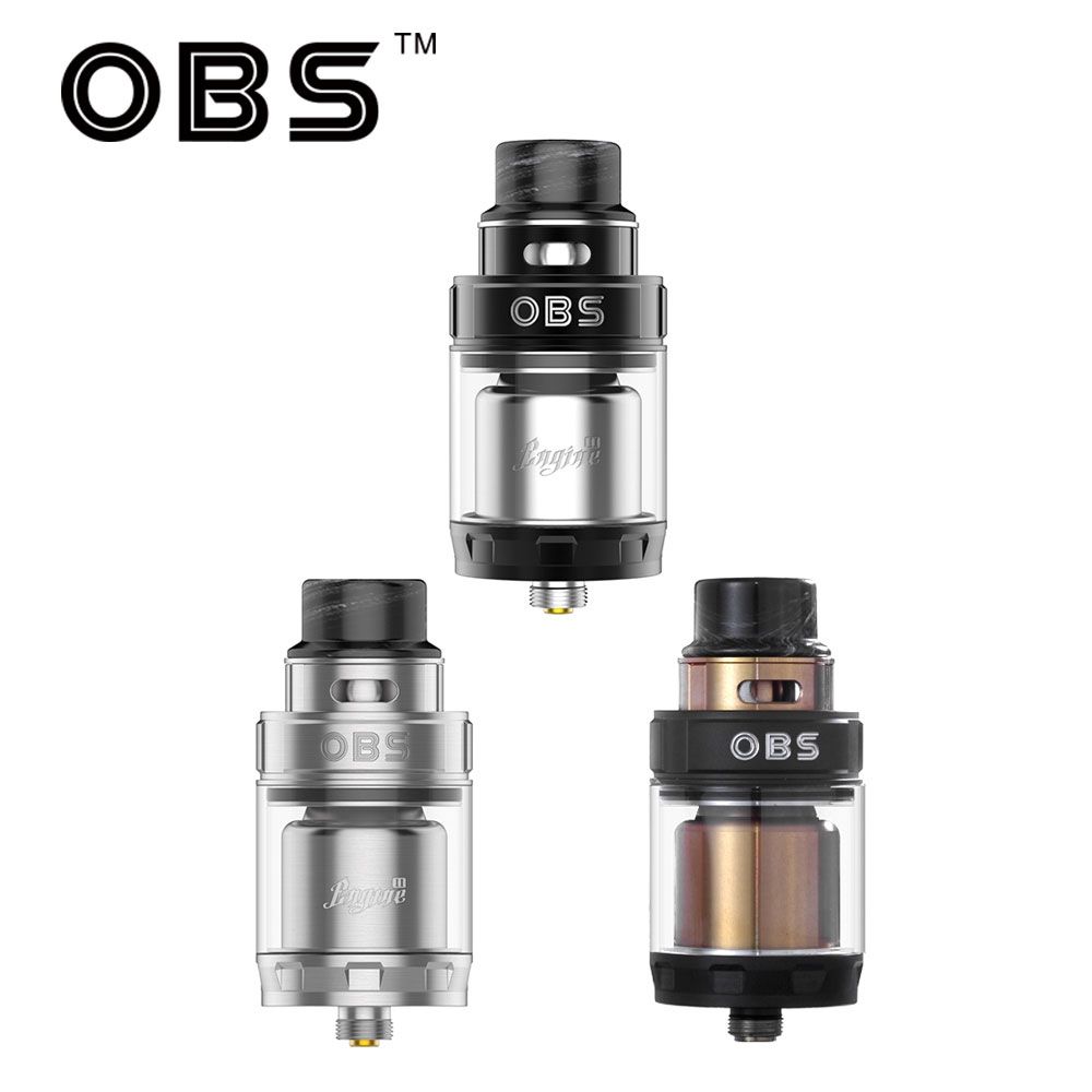Original 5ml OBS Engine 2 RTA Tank Dual Coils RTA 26mm With 360 Degree Top Adjustable Airflow Control & Top Side Filling Design