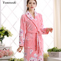 Flannel nightgown Women Coral winter warm Long robe