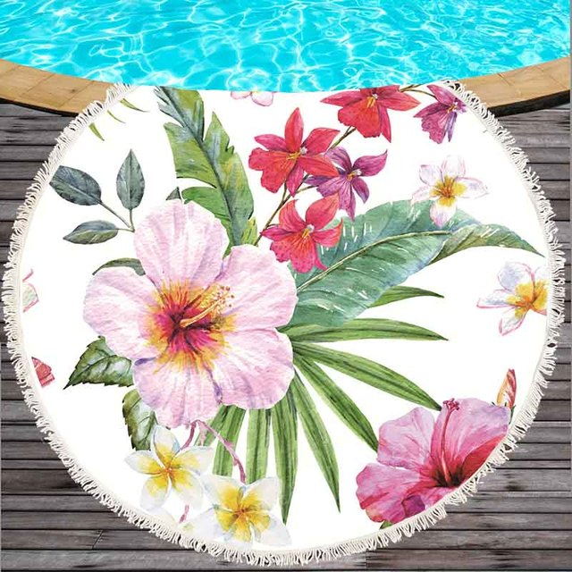 Printed Tropical Leaves Flower Flamingo Beach Towel Round Microfiber Beach Towels Roundie For Adults Serviette -DH0019