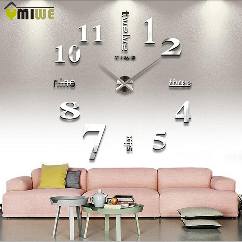New Modern DIY 3D Wall Clock Super Big Quartz Needle Acrylic Diy Mirror Wall Clock Home Living Room Decoration Free Shipping