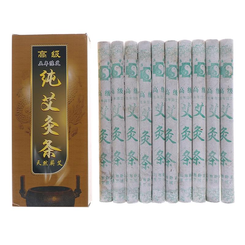 10Pcs/box Chinese Smokeless Moxibustion Stick Pure Moxa Roll Moxa Stick Moxibustion Rollers Bars Navel Smoked Therapy