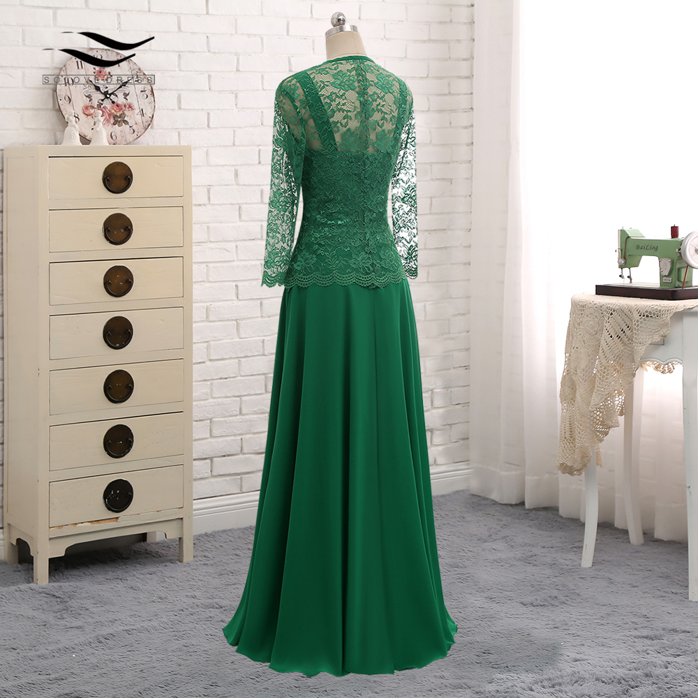 Long Sleeves Lace Cut Out Formal Gown Chiffon Mother Of the Bride Dress With Jacket For Wedding Party Vestido De Festa SL S013-in Mother of the Bride Dresses from Weddings & Events    2