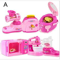 6PCS Pink Pretend Play Household Appliance Kitchen Toys Gifts for Kids Microwave Oven Juicemaker Blender Toast Rice Cooker