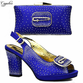 New coming royal blue high heel sandal shoes matching with handbag set for lady GY37, heel height 7cm