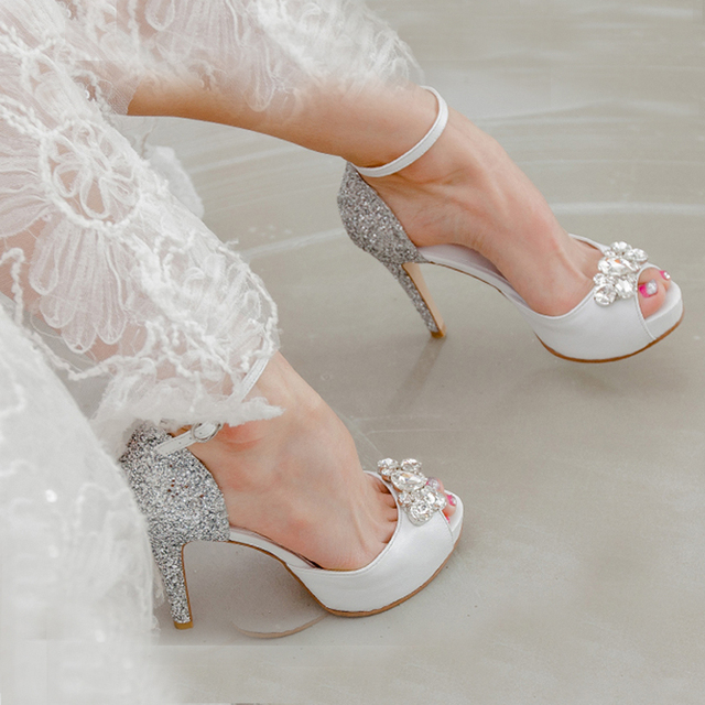 Popular Silver Sequined Wedding Dress Shoes Fashion Genuine Leather Peep  Toe White High Heels Buckle Strap 38df42583991