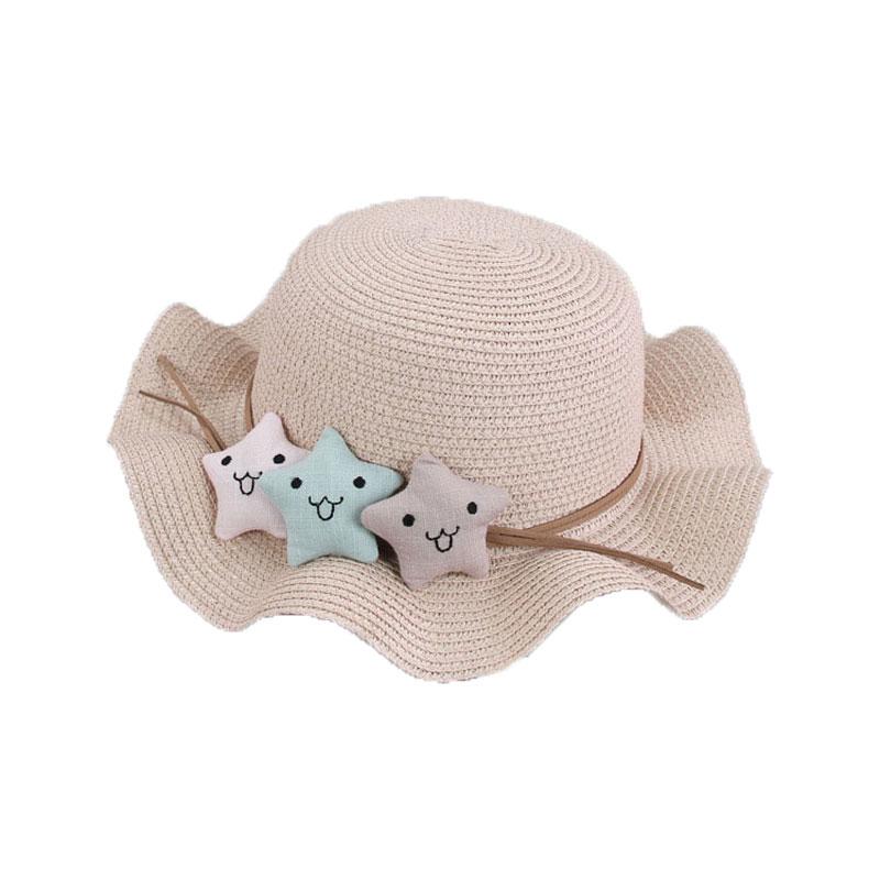 Gilrs Sun bonnet straw Hat Cartoon Star Casual Holiday Summer Beach Sun Protective Cap Kid wave Brim Sunbonne chapeau MZ5857