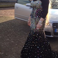 2018 New Design Black High Mermaid Evening Dresses Sheer Sleeveless Shining Colouful Diamonds Party Gowns Robe De Soiree