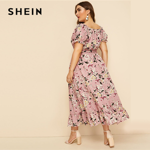 Image 2 - SHEIN Plus Size Pink Ruffle Hem Floral Print Belted Long Dress Women 2019 Summer Autumn Boat Neck High Waist A Line Boho Dresses