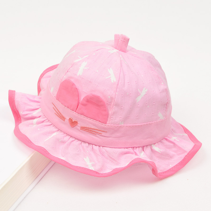 Cartoon Cat Cap for Girls Bucket Hat Baby Girls Sun Cap Lovely Infant Baby Summer Hat Spring 2018 Lovely Baby Accessories