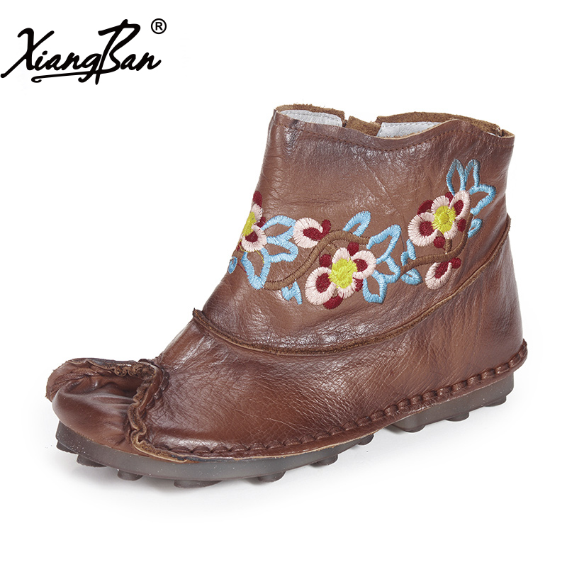 Fashion Women Shoes Handmade Leather Casual Boots Female Flat Boots Ankle Boots Round Head front lace up casual ankle boots autumn vintage brown new booties flat genuine leather suede shoes round toe fall female fashion