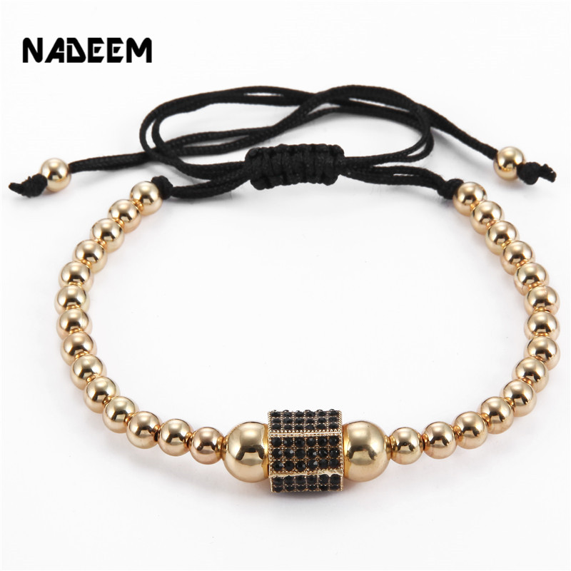 NADEEM New Style Fashion Brand Mens Punk Bracelets Jewelry Newest Micro Pave CZ Hexagon Charm Braiding Macrame Bracelet Bangle