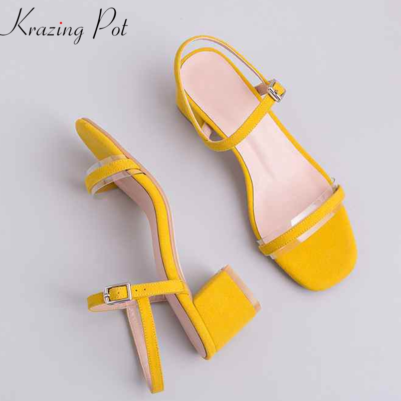 Krazing Pot natural leather candy color peep toe handmade solid color fashion square med heels preppy