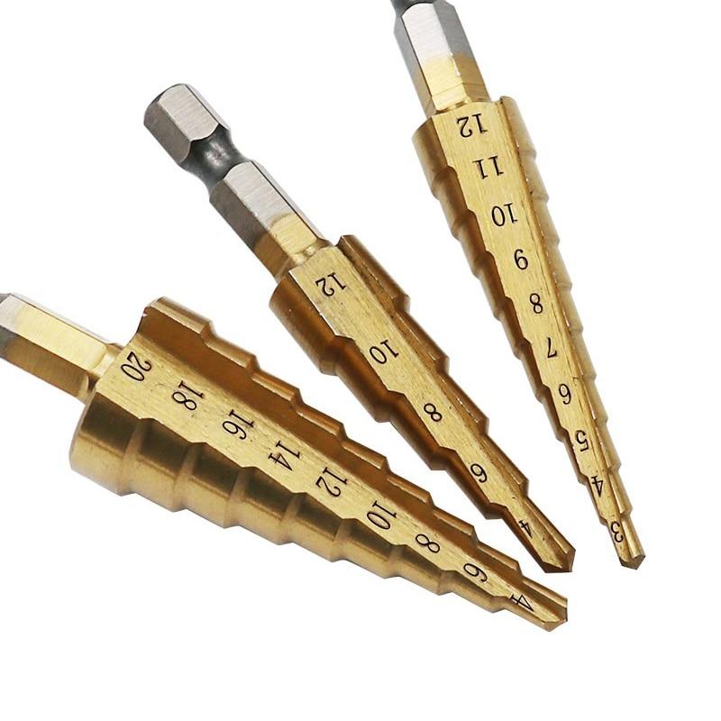 3pcs Hss Titanium Step Drill Bits 3-13/3-12/4-12/4-20/4-22/4-32 mm Step Cone Cutting Tools Steel Woodworking Metal Drilling Set3pcs Hss Titanium Step Drill Bits 3-13/3-12/4-12/4-20/4-22/4-32 mm Step Cone Cutting Tools Steel Woodworking Metal Drilling Set