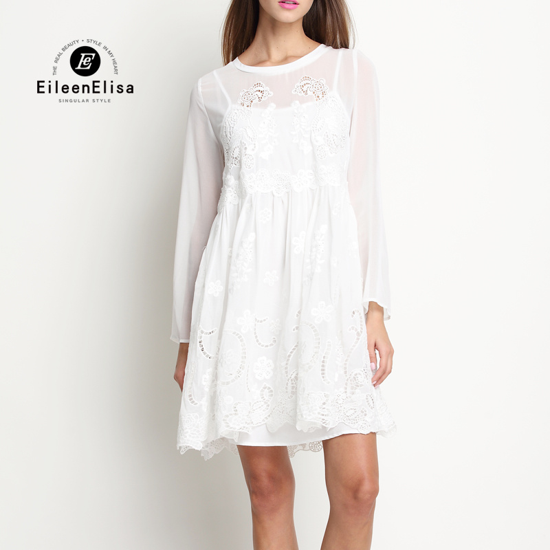 Printemps robe piste 2017 robe femmes de luxe robes de créateurs 2017 à manches longues robe blanche