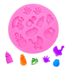Baby Shower Party stroller hand bottle Trojan Shape 3D fondant cake silicone mold kitchen candy cupcake decoration tools