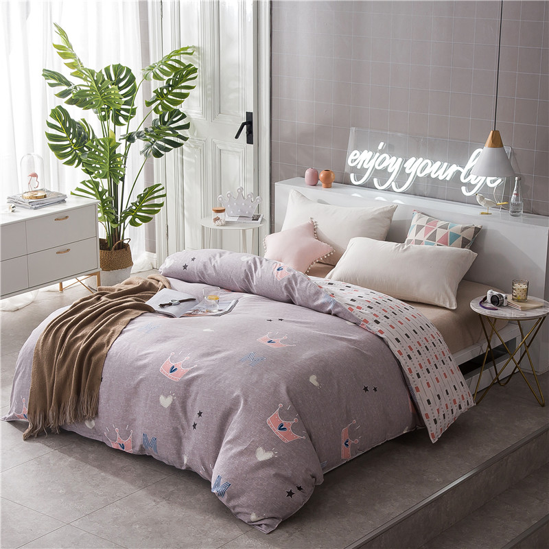 Pink Cartoon Crown Pattern Duvet Cover 1Pc Quilt Cover Cotton Bedclothes 160x210cm/180x220cm/200x230cm Free Shipping