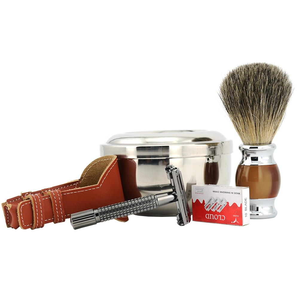 ZY 5pcs Butterfly Open Shaving Razor Double Edge Safety Razor +Leather Case Holder+Shaving Bowl With Lid +Badger Shaving Brush cute bear bowl with lid