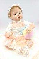 22'' 55 cm Reborn Baby Doll bb reborn Silicone Lifelike Princess reborn baby Bonecas Children Playmate fashion DIY Toy