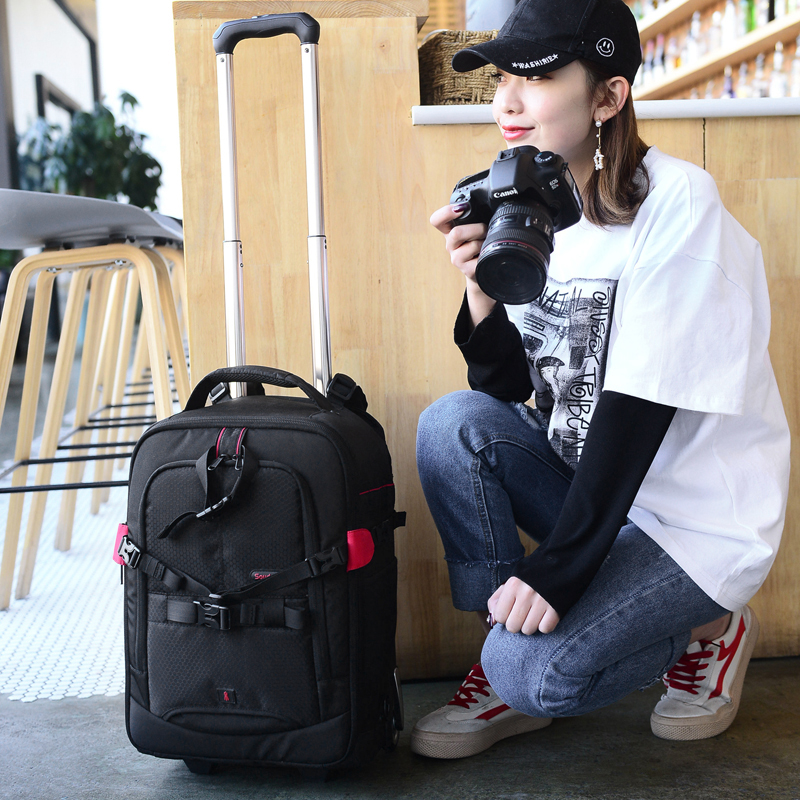 Professional Large Capacity Camera Bag Multi functional Photography Bag Backpack Draw bar box