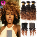 Short Hair Brazilian Weave With Closure 3 Bundle Curly Hair With Closure Brazilian Virgin Hair Deep Wave Ombre Hiar With Closure