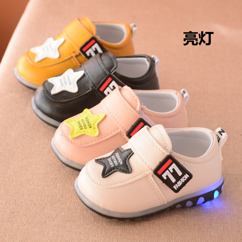 newborn fashion kids casual flat heel loafer leather baby boy LED glowing girl toddler shoes first walkers infant sneaker 201831