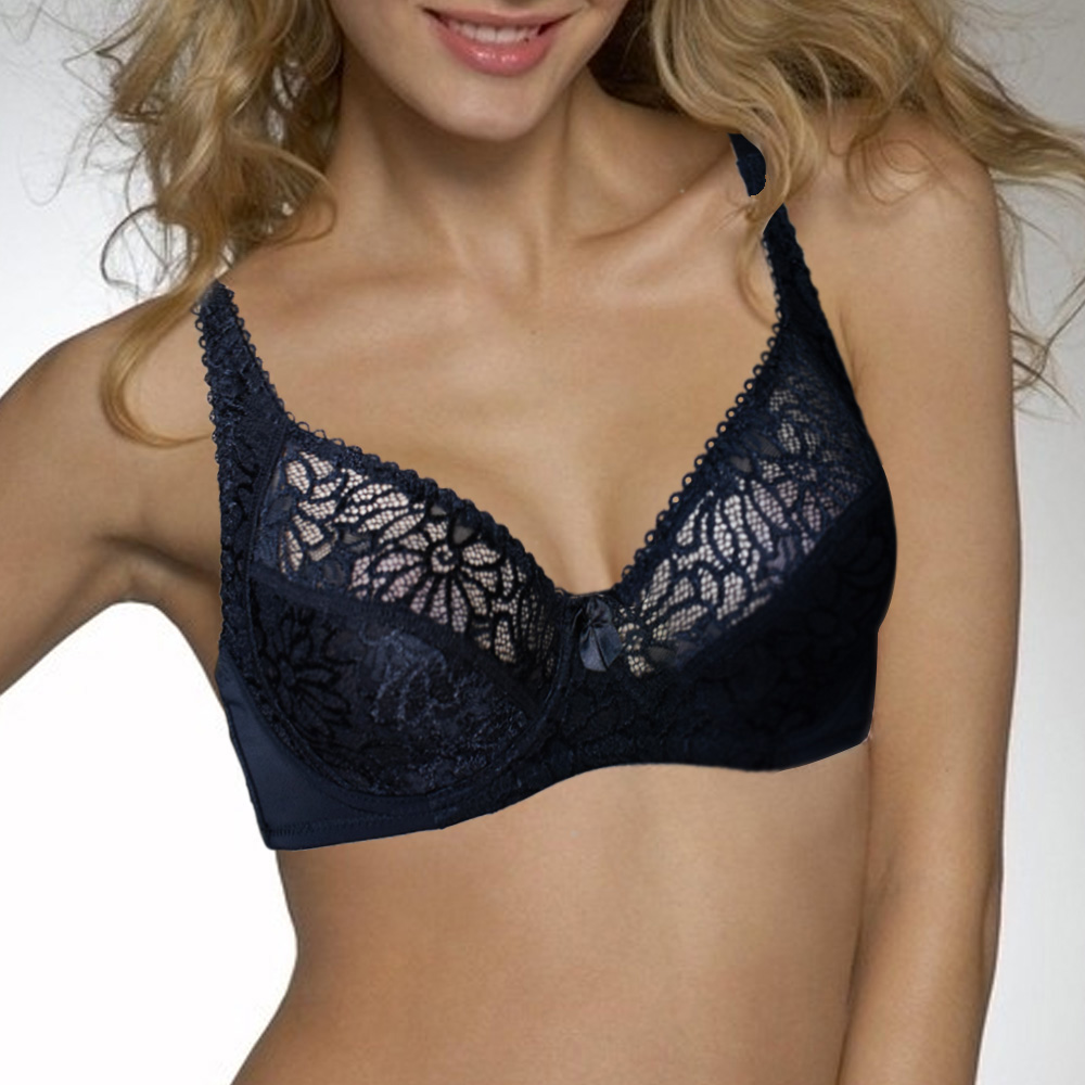 Buy Sexy Lace Underwire Bras Women Sexy Lingerie Perspective Embroidery Floral Bralette Large Size Brassiere BH Top B C D DD E F