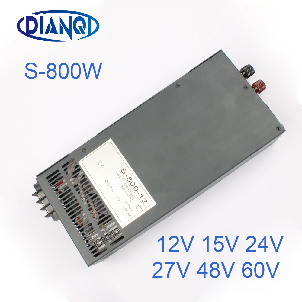 цена на power suply 15v 800w 54A ac to dc power supply converter input 110v or 220v output S-800-15 12V 24V 27V 48V 60V