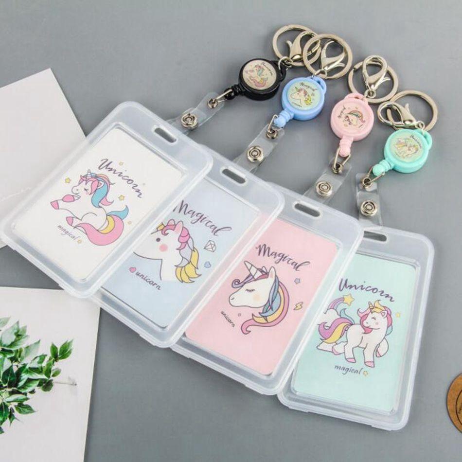 Cartoon PVC Credit Card Holder Women Men Cute Unicorn Business  Cactus ID Card B Case Kids Gift Passport Bank  Card Wallet