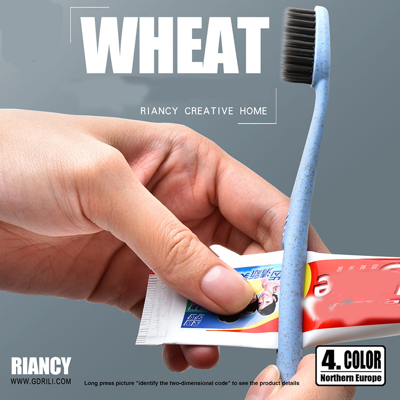 Natural 1pc Portable Travel Toothbrush Soft Bamboo Charcoal Wheat Stalk Handle Oral Care Nano-antibacterial Cute Mini