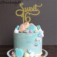 Chicinlife 1 pçs ouro/preto/prata doce 16 bolo topper 16th aniversário bolo topper tema decoração aniversário fontes da festa de aniversário