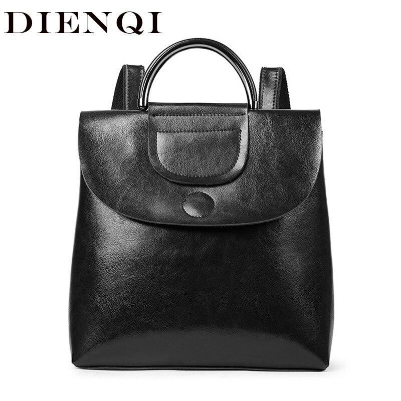 DIENQI Genuine Leather Women Backpack Vintage Black Shoulder Bag Vintage Black Female Backpack for women Back Bag mochila mujer