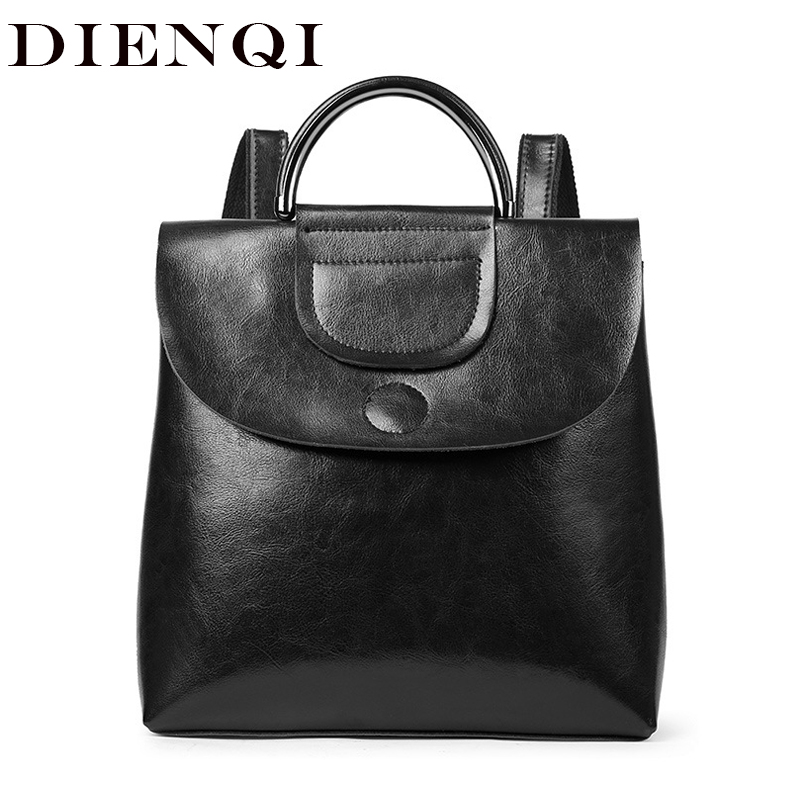 DIENQI Genuine Leather Women Backpack Vintage Black Shoulder Bag Vintage Black Female Backpack for women Back Bag mochila mujer