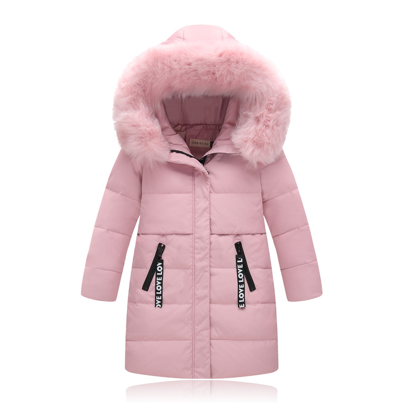 Russia Winter Girls Down Jackets Big Fur Collar Long Girl Thick Coat Children Outerwear Hooded Coats Warm Parka Kids Overcoat 2017 kids jacket winter for girl and coats duck down girls fluffy fur hooded jackets waterproof outwear parkas coat windproof
