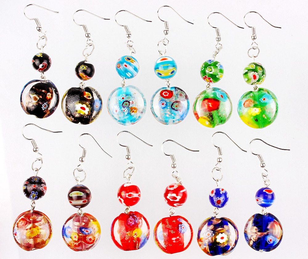 Wholesale Lot 6Pairs Flower Sets Style Silver Plated Hook Elegant Classic Beauty Earrings Murano Glass Earrings Wedding Gift