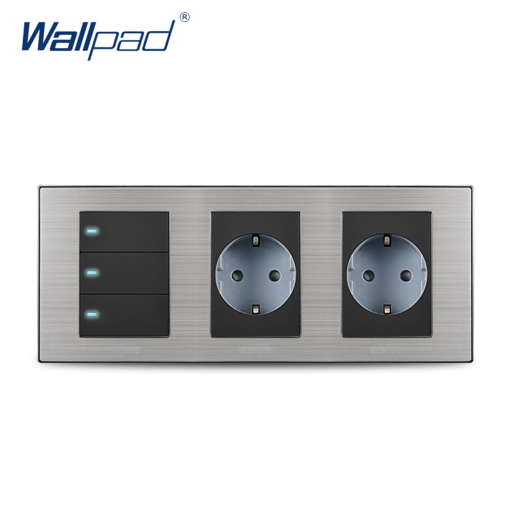 цена на 2018 Wallpad Hot Sale 3 Button 2 Way Switch With 2 EU Socket Schuko Luxury Wall Electric Power Outlet German Standard 234*86mm