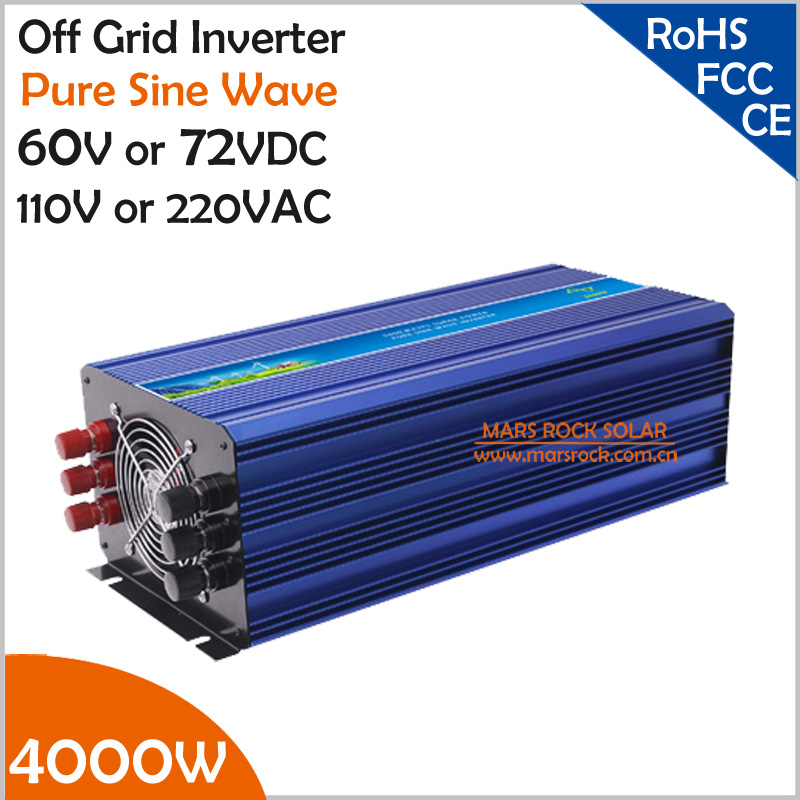 4000W 60V/72VDC 110VAC/220VAC Off grid pure sine wave inverter applied in solar or wind power system, surge power 8000W 4000w 60v 72vdc 110vac 220vac off grid