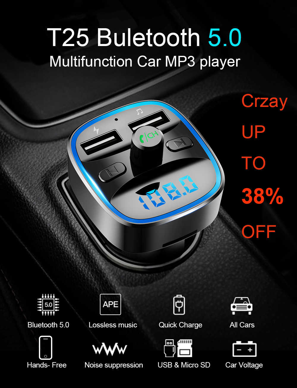 Siparnuo Bluetooth FM Transmitters FM Modulator Bluetooth Transmitter Car Hand Free Transmisor Bluetooth QC3.0 2 USB Car MP3 T25