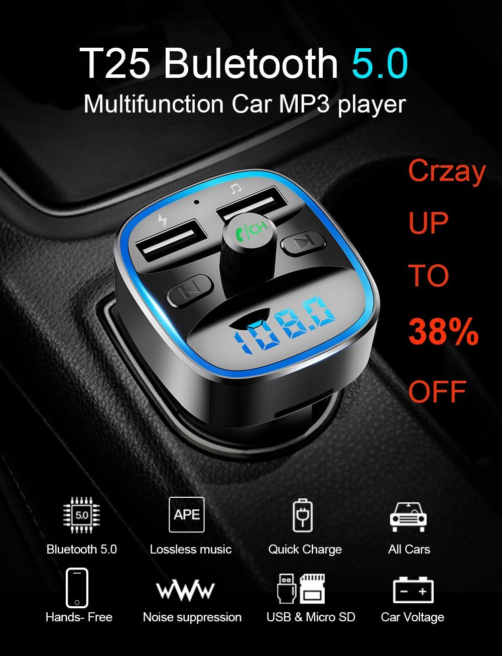 Siparnuo Bluetooth transmisores de FM modulador FM Bluetooth Transmisor coche Manos libres Transmisor Bluetooth QC3.0 2 USB coche MP3 T25