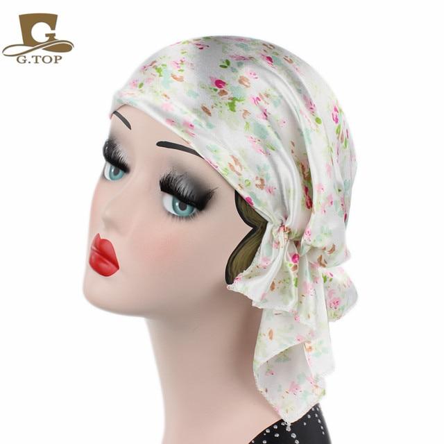 New Women Bandana Scarf Pre Tied Silk Satin Chemo Hat Beanie Turban Headwear  for Cancer Patients Ladies Turbante 41d027461aee