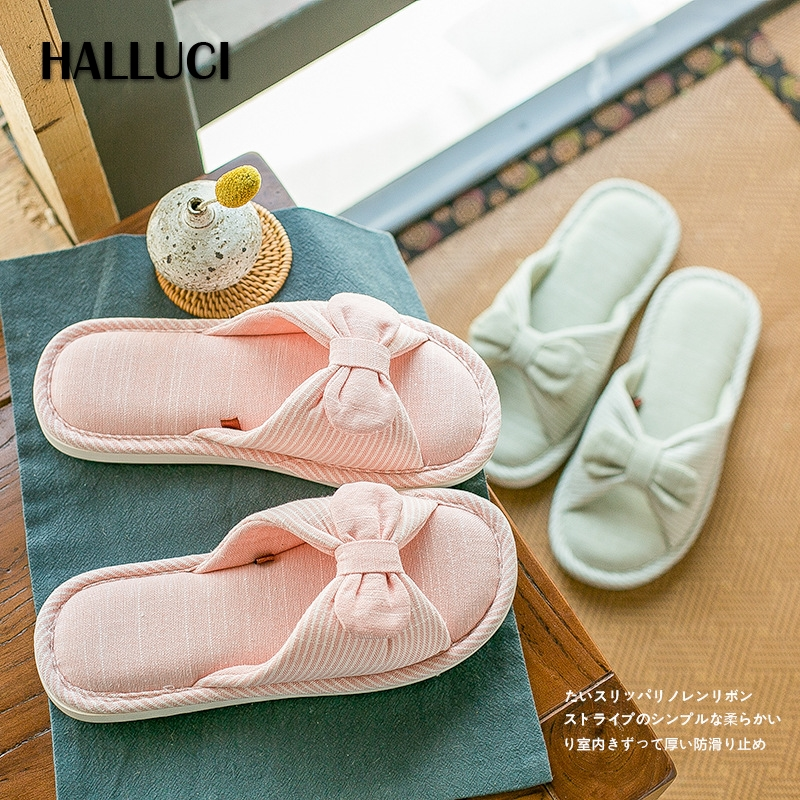 HALLUCI bow-knot mules shoes woman home slippers cotton&linen slides peep toe sapato feminino slipper women bedroom shoes summer halluci breathable sweet cotton candy color home slippers women shoes princess pink slides flip flops mules bedroom slippers