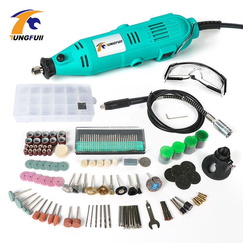 Tungfull 220V 130W Variable Speed Rotary Tools For Dremel Electric Mini Drill with Flexible Shaft 193PCS Accessories Power Tools tasp 220v 130w electric dremel rotary tool variable speed mini drill with flexible shaft and 175pc accessories storage bag