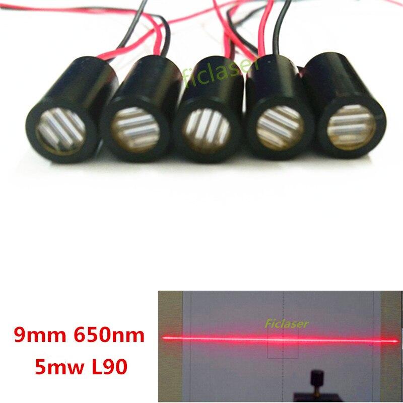 9mm 650nm 5mW Line 90 degree Laser Module Industrial Grade APC Driver