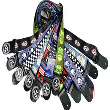 New twill Africa style colorful Acoustic Guitar Strap bass banjo adjustable  leather end Wholesale pro band free shipping