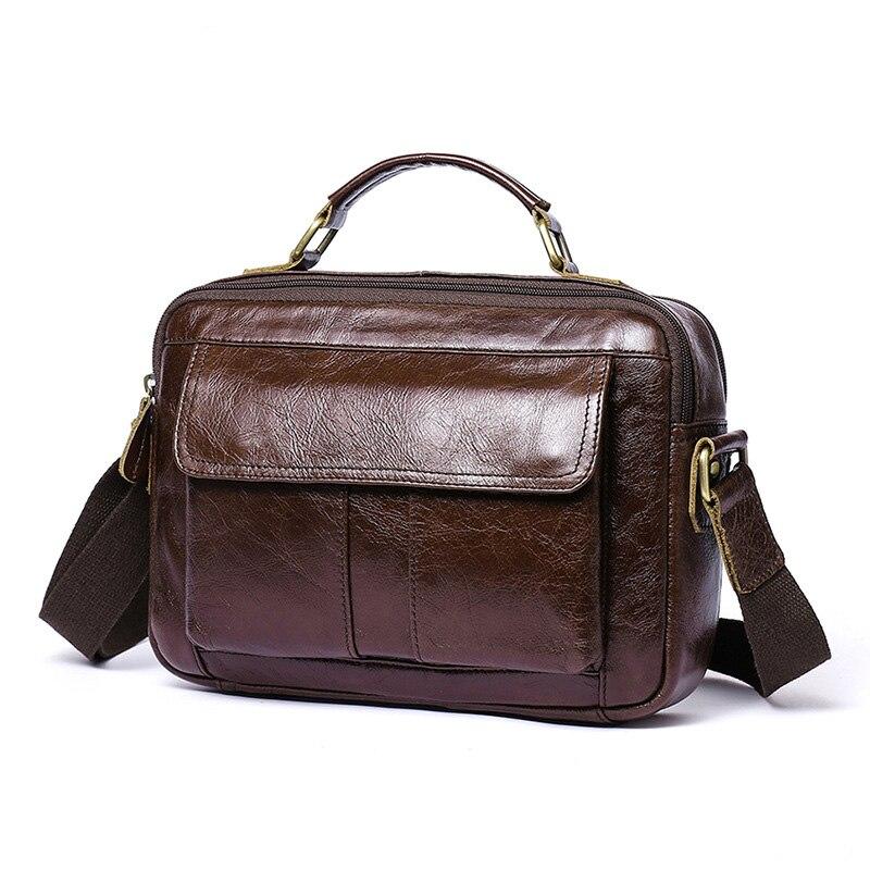 Brand Handbag Men's 100% Genuine Cowhide Leather Shoulder Bag Quality Men Messenger Bags Crossbody For Men Briefcase Bags(China)