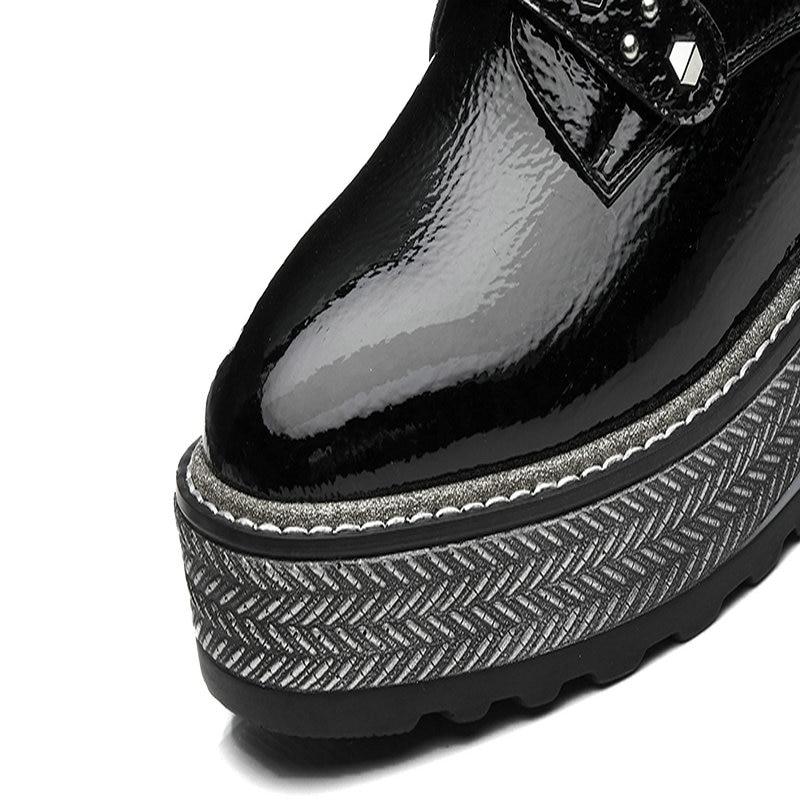 Altos Cuñas Cuero Negro Las Plataforma Mujer Moda De Y Primavera 2019 plata Genuino Tacones Mujeres Otoño Zapatos Nemaone Bombas TOaxqPnO