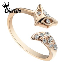 Chereda Vintage Fox Finger Ring Cute Crystal Animal Accessories Engagement Wedding for Women Birthday Gift