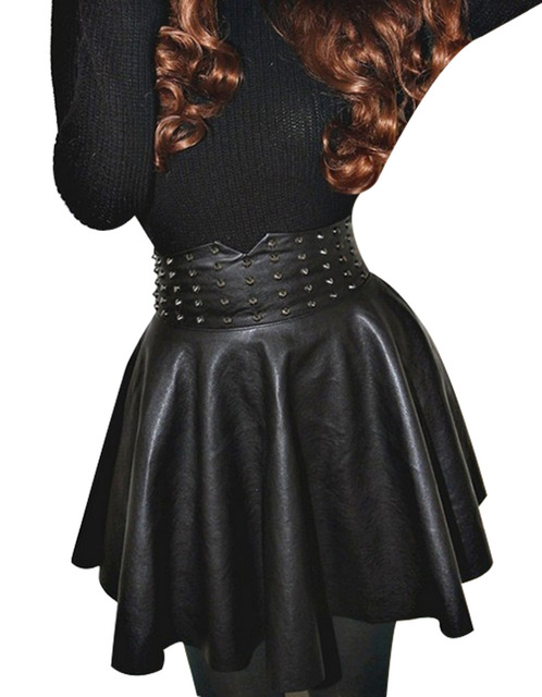 Leather Skirt New item Fashion Women/Lady Retro Rivet Synthetic Leather Skirt High Waist Skater Flared Pleated Mini Skirt