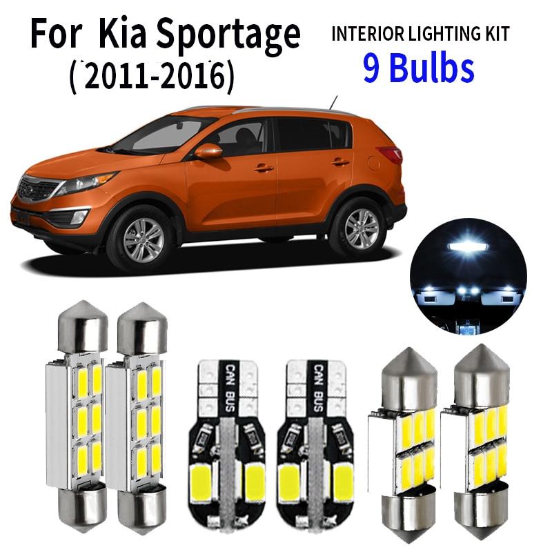 11x White LED Car Map Dome Trunk Interior Lights Kit For 2005-2010 Kia Sportage