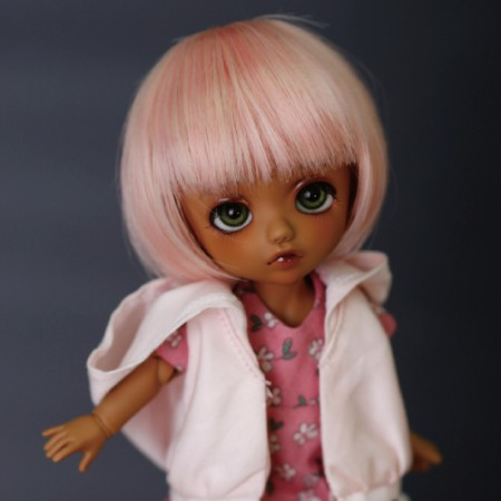 doll accessories 1/8 Bjd wig doll hair wig short bob straight bangs mushroom hairstyle cute boy girl baby lati little demon-db31